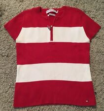 Tommy Hilfiger Jeans Womens Ribbed Shirt, Red/White, Size L