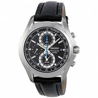 Seiko Mens Chronograph Watch S/Steel Alarm 100M Leather belt SNAE85P1 UK Seller