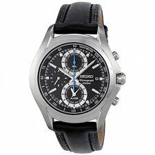 Seiko Mens Chronograph Watch S/Steel Alarm 100M Leather belt SNAE85P1 UK Seller