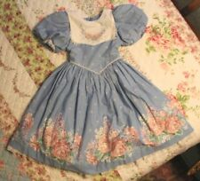 VTG Daisy Kingdom Little Girls sz 5 Blue Floral Dress Crinoline Puffy Sleeves