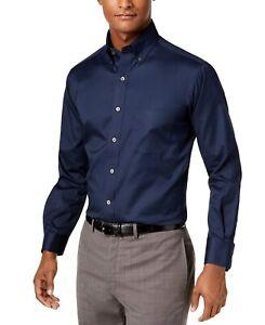 Club Room Mens Dress Shirt Midnight Blue Size 18 Big & Tall Performance $59 053
