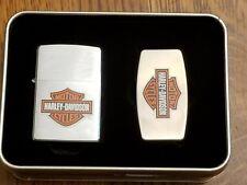 Harley Davidson Zippo lighter set with moneyclip