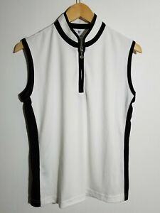 1 NWT DAILY SPORTS WOMEN'S S/L MARGE POLO, SIZE: LARGE, COLOR: WHITE/BLACK(J238)