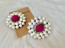 Style made from Japanese Clay Handmade Earrings Thai Traditional Flower