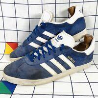 Adidas Original Gazelle Blue Suede Trainers Shoes Mens Size UK 10 EU 44.5