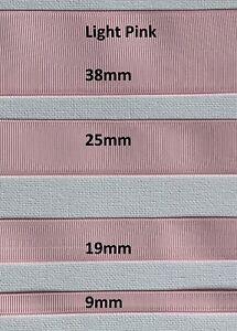 Grossgrain Ribbon - 9mm - 19mm - 25mm - 38mm - Light Pink