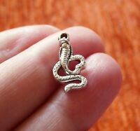 10Pcs Snake Charms for Bracelet Cobra Pendant Necklace Findings Antique Silver
