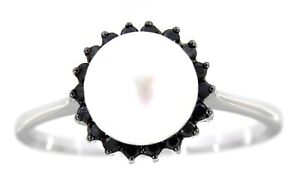Solid Real Black Diamond 14K White Gold 2.78CT Pearl Fine Ring Jewelry For Woman