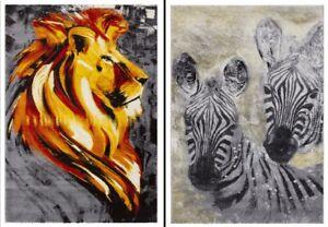 Modern Quality Safari Animal Art Design Zebra and Lion Rug in 2 sizes Carpet