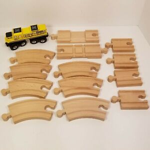 KidKraft Wooden Train Track Lot of 13 With Yellow Engine Brio Thomas Compatible