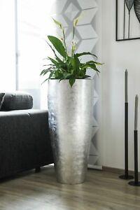 """Exklusiver großer Blumenkübel Fiberglas """"City"""" 80cm Silber Hochglanz"""