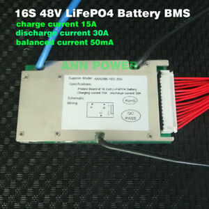 16S 48V 30A LiFePo4 BMS Battery With Balance Function
