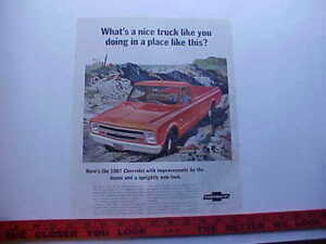 1967 Chevrolet C-10 pickup truck--LARGE full-color vintage 67 private estate ad