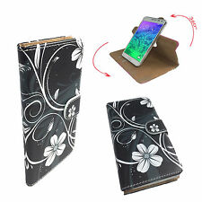 Mobile Phone Book Cover Case For HTC Desire 728G - Flower Black XL