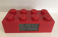 Lego Red Brick Alarm Clock w/ LCD Screen ~TESTED & WORKS