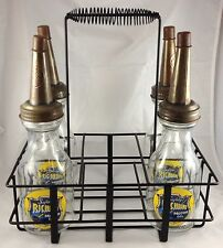 RICHLUBE GAS GLASS MOTOR OIL BOTTLES WITH METAL CARRIER CARRYING DISPLAY RACK