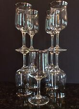 Set 9 Lenox Desire Crystal Wine Water Goblets Platinum Trim Panel Cut Stem