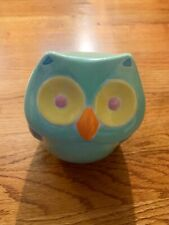 Ceramic green Blue Owl Cookie Jar / Canister 7.5 Tall