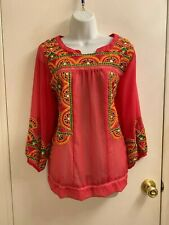 NWOT Awesome Anu Multi-color Crochet Peasant Top XL