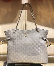 Tory Burch Bryant Quilted Slouchy Tote Leather French Gray $635 NWT