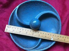 Blue pottery dish, possibly French, mottled finish, 3 sections