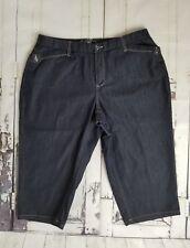 CATO Women's Capris Cropped Pants 6-Pockets Dark Wash Blue  Cotton Blend 18W