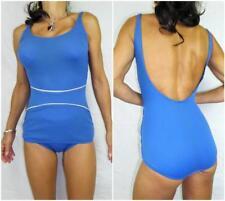 VINTAGE 60s ROCKABILLY SWIMSUIT 10 NAUTICAL mod blue white SCOOP dressups bikini