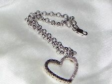 "Darling Charm Heart Bracelet~B/W Diamonds~Size 7"" Long~Heart is 3/4"" W X 1/2"""
