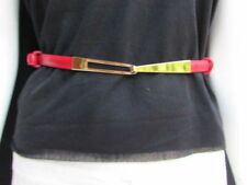 Women High Waist Passion Red Skinny Trendy Belt Metal Gold Buckle Size XS S M