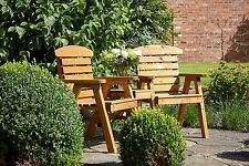 Hetton Wooden Companion Seat by Tom Chambers - Wood Furniture Garden Chair Bench