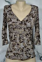INC INTERNATIONAL CONCEPTS Brown White Gold Nylon Top Medium 3/4 Sleeves Lined
