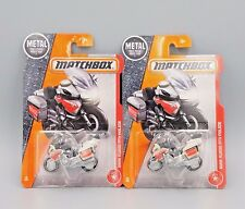 2017 Matchbox Bmw R1200 Rtv Police Motorcycle - No. 98 - White - Set of 2