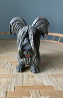Vintage Italy Wood Carved Wood Terrier Dog ANRI Style #C Signed Rare Painted