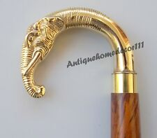 Antique Heavy Ebony Wood Inlaid Sterling Handmade Elephant walking stick cane