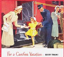 1948 Ad ~ PENNSYLVANIA RAILROAD RR ~ Conductor Helps a Little Girl Aboard Train