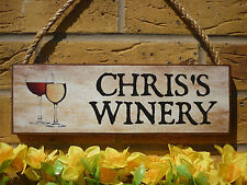 PERSONALISED OUTDOOR DRINKS SIGN WINERY SIGN NAME SIGN WINE GLASSES DISTILLERY