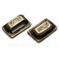 2x Dolls House Miniature 1:12th Scale Antique Brass Square Pull Handles