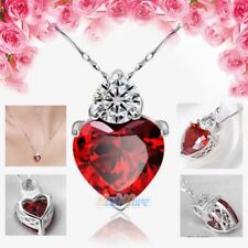 925 Sterling Silver Red Garnet Heart Crystal Pendant Necklace Valentine Gift Box