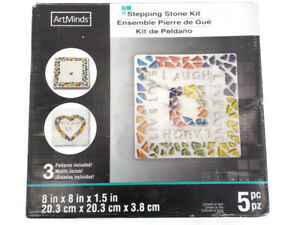 ARTMINDS STEPPING SQUARE STONE KIT MOSAIC OUTDOOR MEMORIAL STONE FURKID OPEN BOX