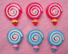 20 Swirl Lollipop Red & Blue Resin Flatback Button/Craft/Scrapbooking/decor B126