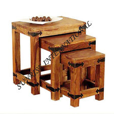 Ethnic Wooden nest of 3  table / Nesting stool set of 3 !