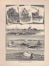 Long Beach Scenes -Lighthouse-1872 Wood Engraved Print