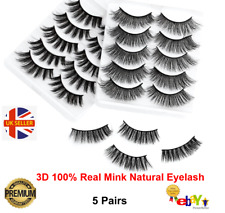 5 Pairs False Eyelashes 3D Mink Wispy Cross Long Thick Soft Fake Eye Lashes UK