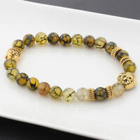8MM Natural Lava Gold Lion Buddha head Charm Men's Dragon Pattern beads Bracelet