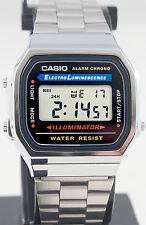 Casio A-168WA-1 Men's Digital Watch Stainless Steel Band Alarm Stopwatch New