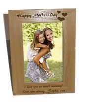 HAPPY le madri giorno con cuore design in legno Cornice foto 4x6-INCISIONE GRATUITA