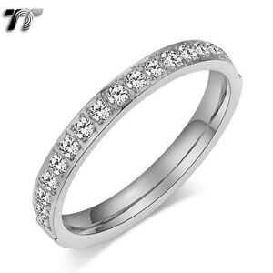 TT Silver 2.5mm Stainless Steel Inlay CZ Wedding Band Ring Size 3-8 (R347) NEW