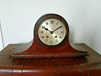 Antique Carved Oak Napoleon's Hat Mantel Clock with Key & Pendulum (Chime Time)