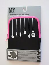 My Tagalongs 2 in 1 Tablet Sleeve Stand  Black Pink Travel Tech on the Go Case