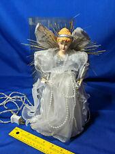 "1995 Vtg Silver Angel Lighted Tree Topper Doll Figure Ornamnet 12"" Cute"